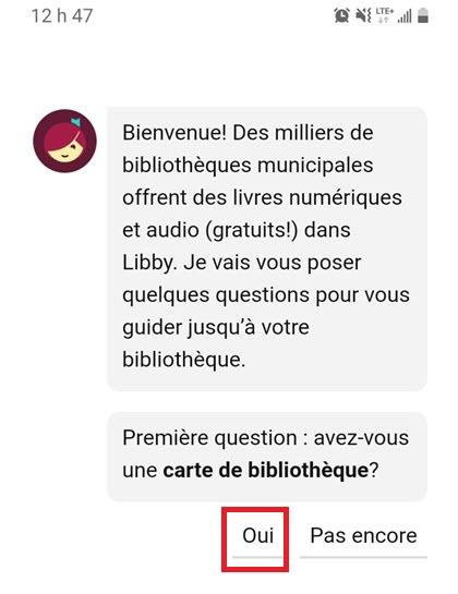 Libby question carte de bibliothèque