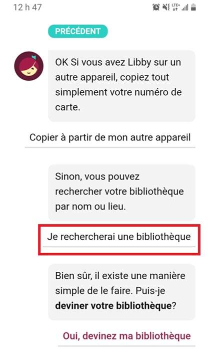 Libby question rechercher bibliothèque